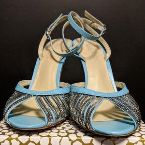 Allen Schwartz turquoise stilettos w metallic bits